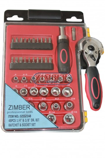 "Гедоре 1/4"" и 3/8"" - 48 части - ZIMBER (ZR-02SS2348)"