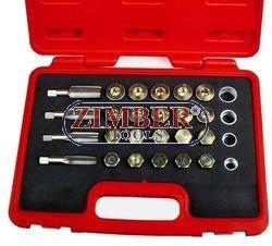 К-т за възстановяване на резби на картери M13x1.5,M15x1.5, M17x1.5, 20x1.5 64-части - ZIMBER-TOOLS.