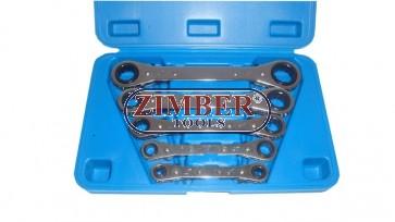 К-т ключове звезди с тресчотка (двустранни) инчови - 5 части - BGS (ZB-1449) ZIMBER - TOOLS.
