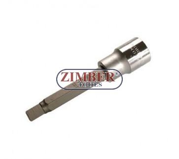 """Накрайник шестостенен на вложка 8 мм, дължина 100 мм, 1/2"""" (ZB-4263)"""