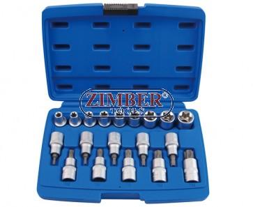 Комбиниран к-т вложки Е и вложки с торкс 19ч, ZR-14TSB1219V - ZIMBER TOOLS