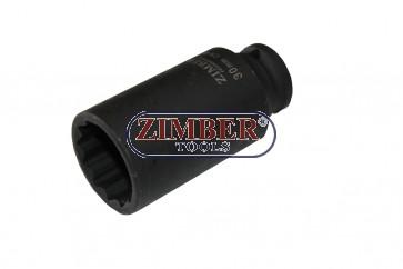 """Вложка за главина 1/2""""- 30-mm (удължена дванадесетостенна)  ZR-08DAIS430M, ZIMBER-TOOLS"""
