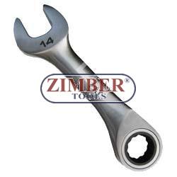 Ключ звездогаечен къс с тресчотка 14мм - ZIMBER(ZL-7203-14мм)