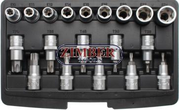 """Вложки с накрайници Torx T20/70, E-Torx E10/24, 1/2"""", 19-части-(95100) - BGS technic"""