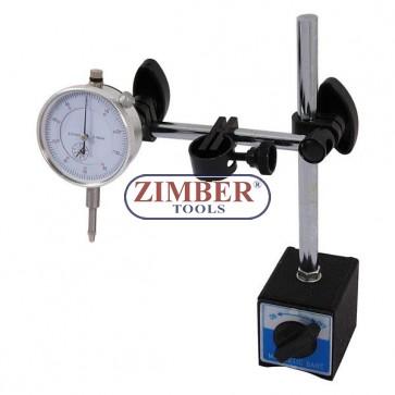 К-т магнитна стойка с индикаторен часовник 0-10mm, 3785- Neilsen.