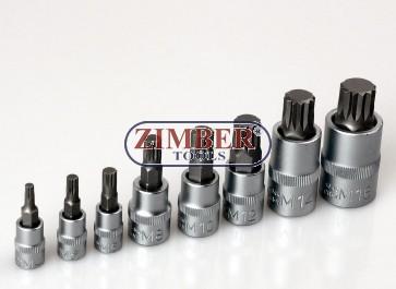 К-т накрайници на вложки XZN- M4 - M16, 8 pcs. (5105) - BGS technic