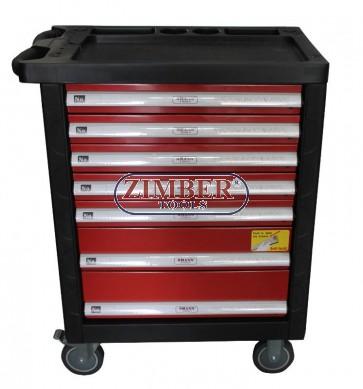 Инструментална количка (шкаф) 7 отделения, к-т с инструменти 196 части. ZT-01163K - SMANN TOOLS