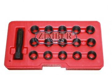 Инструменти за възстановяване на резби на свещи  M14 X 1,25-mm. -16 части,  ZT-01Z5196 - SMANN TOOLS
