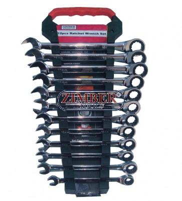 К-т ключове с тресчотка 72 зъба - 12 части, ZR-17RWS12V02- ZIMBER - TOOLS.