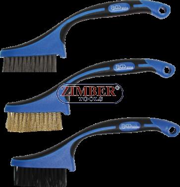Комплект мини четки за почистване на гарнитури за глави, цилиндри, втулки, тръби др. - 165 mm 3 бр, (9314) - BGS technic.