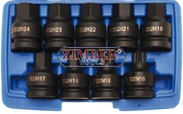"""Накрайници на вложка ударни к-т 3/4"""", 9 части - BGS, ZB-5054 ZIMBER - TOOLS."""