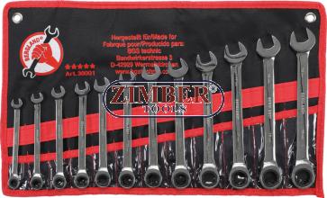 Комплект звездогаечни ключове с тресчотка 72 зъба 8 - mm 9 - 10-11 - 12 - 13 - 14 - 15 -16-17 -18- 19 mm | 12части . 30001 - BGS technic.