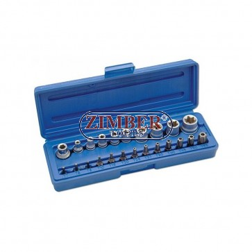 Вложки Е-та и битове - 23 части, ZR-14BSSS23 - ZIMBER TOOLS