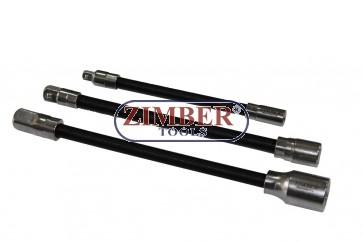 К-т гъвкави удължения 3бр. 1/2D-12*220mm;3/8- 9.5*200mm;1/4- 8*150mm - ZIMBER-TOOLS (ZR-02FEBS03)