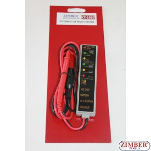 Мултифункционален ел. тестер, волтметър, тест за акумулатор, тест за алтернатор ZL-1957 - ZIMBER.
