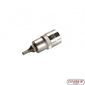 """Накрайник шестостенен на вложка 4 мм, дължина 53 мм, 1/2"""" (ZB-4250)"""