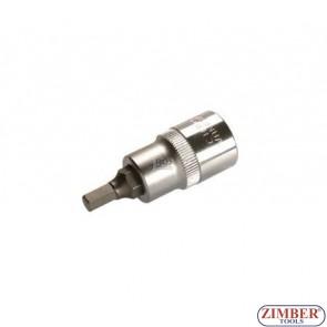 """Накрайник шестостенен на вложка 6 мм, дължина 53 мм, 1/2"""" (ZB-4252)"""