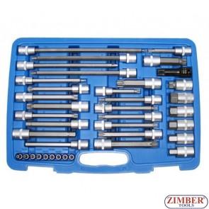 """Накрайници на вложка к-т 38 части 1/4"""" + 1/2"""" - BGS,ZB-5184 - ZIMBER - TOOLS."""