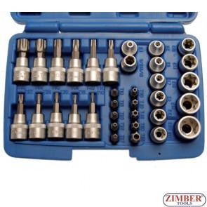"""К-т Е-вложки и Т-накрайник на вложка 3/8"""", 34 части - BGS, ZB-5021 ZIMBER - TOOLS."""