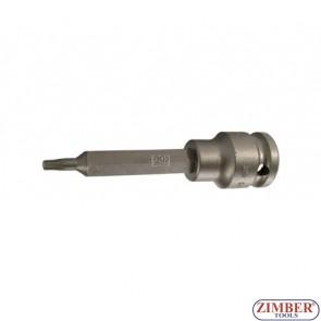 """Накрайник на вложка ударна T-STAR, 100 mm удължен 1/2"""" T25 - BGS, ZB-5470 ZIMBER - TOOLS."""