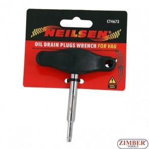 Ключ за разхлабване и закрепване на пластмасови тапи за източване на масло VAG, 4673 - Neilsen.