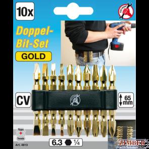 """КОМПЛЕКТ БИТОВЕ  С СПЕЦИАЛНО ПОКРИТИЕ ДВУСТРАННА  """"gold""""- 10 ЧАСТИ, 1/4""""  (4813) - BGS technic"""