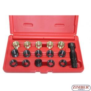 Инструменти за възстановяване на резби на свещи -16 части, ZR-36SPTRT16 - ZIMBER TOOLS.