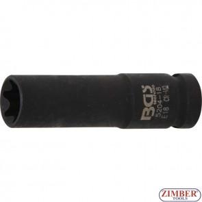 Ударна Е вложка, дълга 1/2, E18 mm- 5204-18 - BGS- technic.