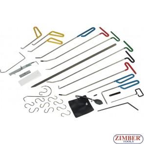 К-т инструменти за изправяне на вдлъбнатини, малки дефекти, градушки и др. 33-части - ZR-36PDRK3301- ZIMBER TOOLS.
