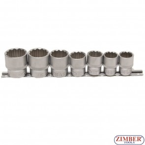 Комплект 12-стенни вложки на релса от 20 - 21 - 22 - 24 - 27 - 30 - 32 mm, 1/2 - 7 части - 9109 - BGS technic.