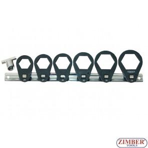 """Ключове за маслени филтри к-т 5бр.24mm/27mm/30mm/32mm/36mm/38mm x 3/8""""D - ZR-36OFRT7 - ZIMBER TOOLS."""