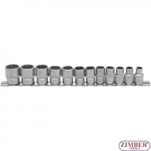 """Комплект 12-стенни вложки на релса  (3/8"""")   от  8 - 19 mm    12- части  - 9105 - BGS - technic."""