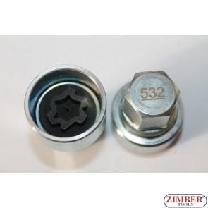 Ключ за секретни болтове на Vag Vw, Skoda, Audi, Seat -532- ZIMBER-PROFESSIONAL