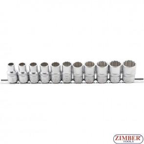 """Комплект 12-стенни вложки на релса  (1/2"""")    10 - 21 mm   11- части - 9107 - BGS - technic."""