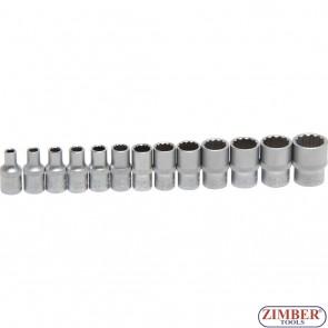 """Комплект 12-стенни вложки на релса от (1/4"""")  4 - 14 mm   13- части. 2269 - BGS- technic."""