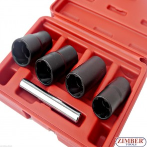 """К-т комбинирани вложки/екстрактори 1/2"""" Dr. 17-mm, 19-mm, 21-mm, 22-mm -  ZT-008A62 - SMANN TOOLS"""